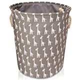 Grey Canvas Storage Basket with Giraffes - Large High Quality Fabric Basket with White Giraffes - Perfect for Household Storage, Toys or Laundry. 40cms Diameter x 45cm Height