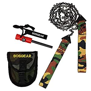 """SOS Gear Pocket Chainsaw and Fire Starter - Survival Kit with Hand Saw in Camo Embroidered Pouch, Firestarter with Built in Compass and Whistle for Camping - Backpacking - 24"""" Saw Chain"""