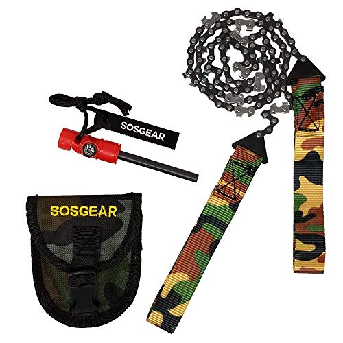 - Pocket Chainsaw by SOS Gear, Emergency Survival Gear Hand Saw with Camo Pouch, Snap Closure and Belt Loop for Campers, Hunters, Fisherman and Backpackers, Extra Long 36