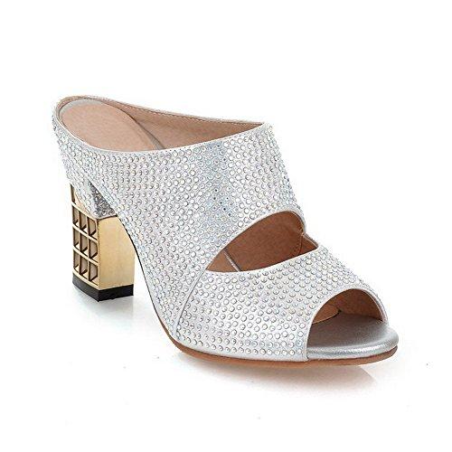 VogueZone009 Womens Pull On High Heels Pu Solid Peep Toe Slippers Silver j4tJTWUGJV