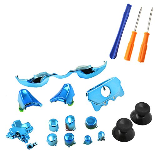 SING F LTD Elite Replacement LB RB Bumpers Triggers Buttons with Tools For Xbox One Elite Controller, Chrome Blue (Blue Buttons Xbox)
