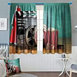 Anniutwo Movie Theater Window Curtain Drape Production Theme 3D Film Reels Clapperboard Tickets Popcorn and Megaphone Decorative Curtains For Living Room 63'' W x 45'' L Multicolor