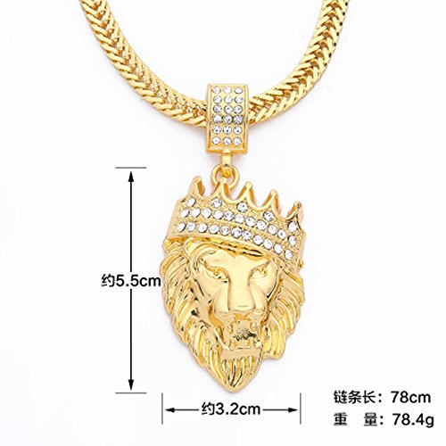Moonite Diamond Necklace Crown Lion Hip Hop Pendant Fashion Jewelry for Men,Birthday,Present for Boyfriend