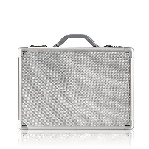 Solo Fifth Avenue 17.3 Inch Laptop Attaché Briefcase, Hard-sided with Combination Locks, Silver (Aluminum Business Laptop Case Computer)