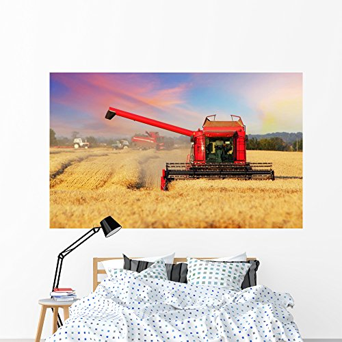Wheat Field with Harvester Wall Mural by Wallmonkeys Peel and Stick Graphic (72 in W x 44 in H) WM368009