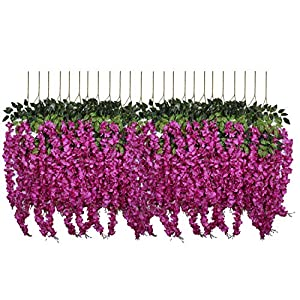 U'Artlines 24 Pack 3.6 Feet/Piece Artificial Fake Wisteria Vine Ratta Hanging Garland Silk Flowers String Home Party Wedding Decor Extra Long and Thick (24, Purple Red) 3