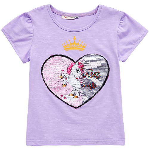 - Unicorn Flip Heart Sequin Girl's T-Shirt with Flip Sequin Unicorn Headband 4-12 Years (5, Purple Shirt Only)