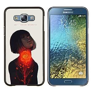 TaiTech / Prima Delgada SLIM Casa Carcasa Funda Case Bandera Cover Armor Shell Wood Texture - Pasión Mujer Cita del amor de la primavera - Samsung Galaxy E7 E700