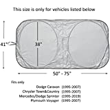 Windshield Sun Shade for Chrysler Town & and Country Dodge Caravan (1995-2007) Sprinter (1995-2019) Commercial Van