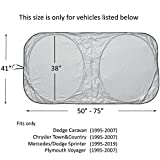 #10: Windshield Sun Shade for Chrysler Town & and Country Dodge Caravan (1995-2007) Sprinter (1995-2019) Commercial Van