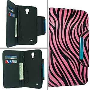Samsung Galaxy Mega 6.3 I9200 I9205 I527 Pouch Protector Case Cover - Black Hot Pink Zebra Wallet