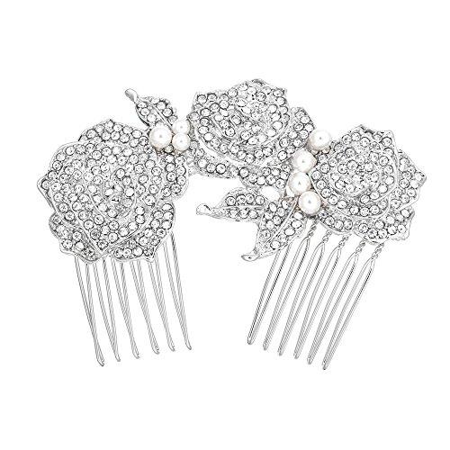 EVER FAITH Wedding Silver-Tone Rose Cream Simulated Pearl Hair Comb Clear Austrian Crystal