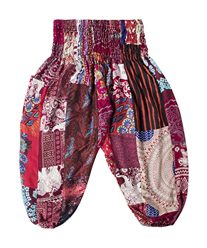 Lofbaz Kid's Patch Boho Pants - Burgundy - 12-13Y by Lofbaz
