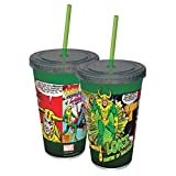 ICUP Marvel Loki Comic Panels Cup with Straw, Clear