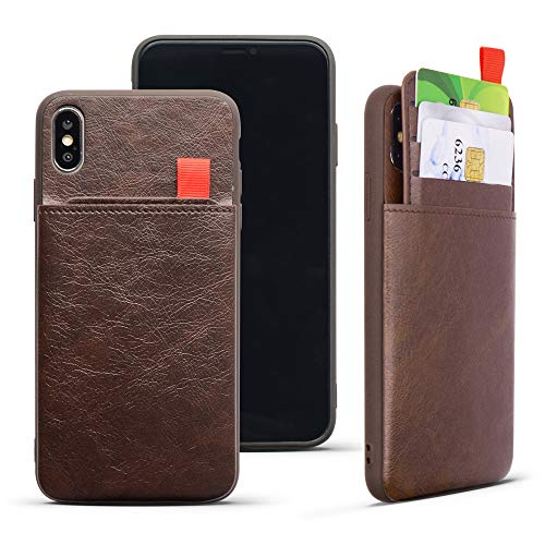 REDTREE Leather Wallet Case for iPhone Xs MAX 6.5'' with Credit Card Cash Slot Shockproof Slim Pocket Protective Cover (Chocolate Brown)