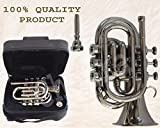 TRUMPET POCKET Bb NICKEL PLATED WITH BAG 7C MOUTH PIECE FAST SHIP