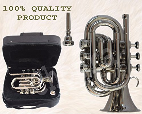 TRUMPET POCKET Bb NICKEL PLATED WITH BAG 7C MOUTH PIECE FAST SHIP by Chopra