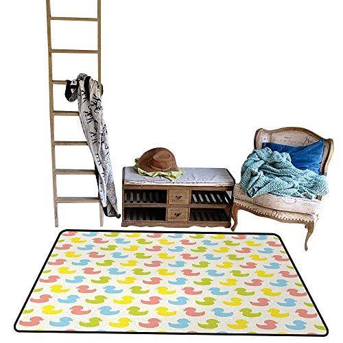 Rubber Duck, Bath Mat 3D Digital Printing, Colorful Ducklings Baby Animals Theme Pastel Girls Boys Newborn, Kids Carpet Playmat Rug, W60 x L96 Inch, Pink Blue Green and Yellow