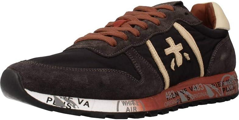 Premiata Low Sneakers Mens Shoes Lander 2348 Gray Mimetical Bordeaux