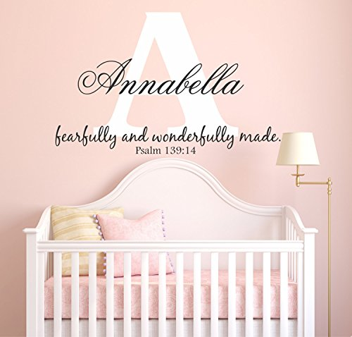- Girl's Personalized Custom Initial and Name Vinyl Wall Art Decal Sticker, Psalm 139:14 Fearfully and Wonderfully Made, Nursery Name Wall Decal, Wall Decals For Girls, PLUS FREE WHITE HELLO DOOR DECAL