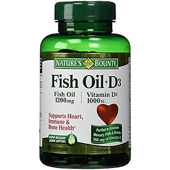 Nature 39 s bounty omega 3 plus d3 fish oil 1200 for Fish oil vitamin d