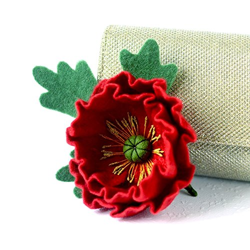 (Mother's Day Gift Red Poppy Brooch Felted Poppy Pin Flower Brooches Poppy Jewellery Red brooch Flower Broach Wool Jewelry Original Gift Ideas for Woman )