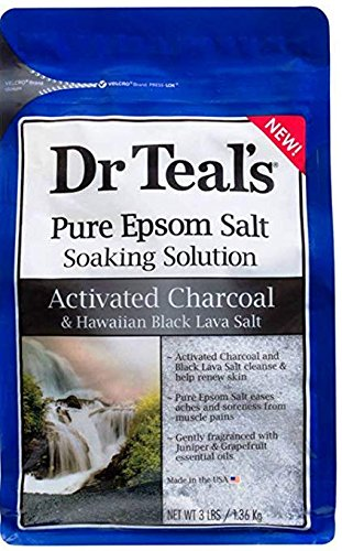 (Dr Teal's Activated Charcoal & Lava Salt Soaking Solution, 3 lbs (Pack of 4))