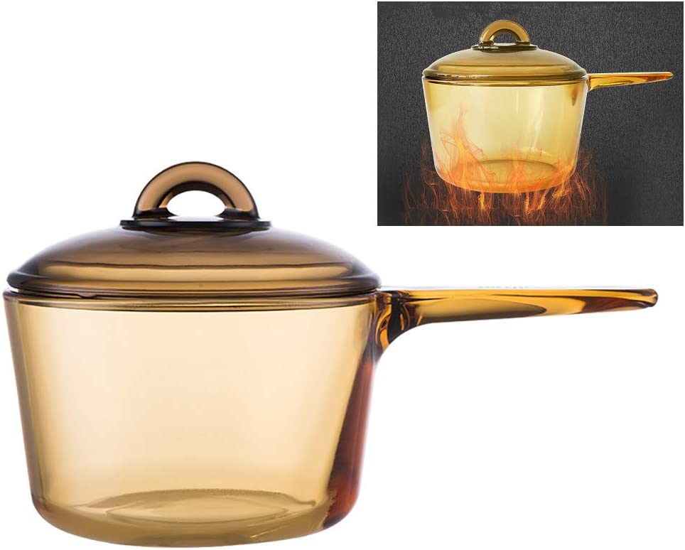 Amber Microcrystal Glass Slow Cooker 1.5 Litre (1-2 People) High Temperature Resistance Small Stew Cooking Pot