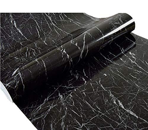 Moyishi New Black Granite Look Marble Gloss Film Vinyl Self Adhesive Counter Top Peel and Stick Wall Decal 12x79