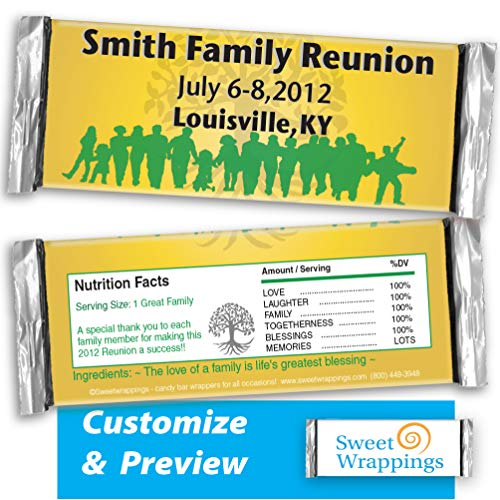 Personalized Candy Bar Wrappers | Family Reunion | Reunion, Gift, Anniversary, Party Favor, Personalized, Custom | (36 Wrapper Kit) - Fits Hershey's 1.55oz Chocolate Candy