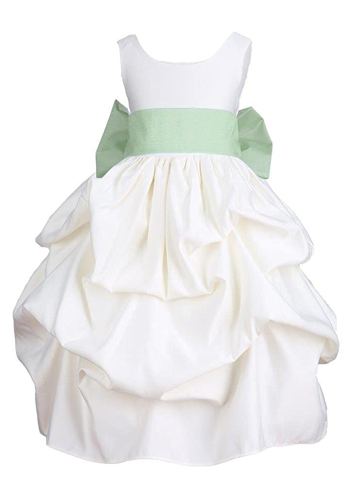 Prince Lover Ivory Wedding Pick-up Organza Sash Flower Girl Dress