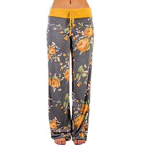 Roselux Women's Floral Print Casual Loose Baggy High Waist Tie Long Pants (Yellow,S) by Roselux