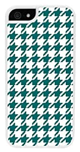 iPhone 6 Case, CellPowerCasesTM Teal Houndstooth [Flex2 Series] -iPhone 6 (4.7) White Case [iPhone 6 (4.7) V2 White]