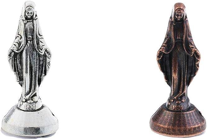 50x20x20mm F Fityle 2PCS Figurine Alliage Statue de Vierge Marie