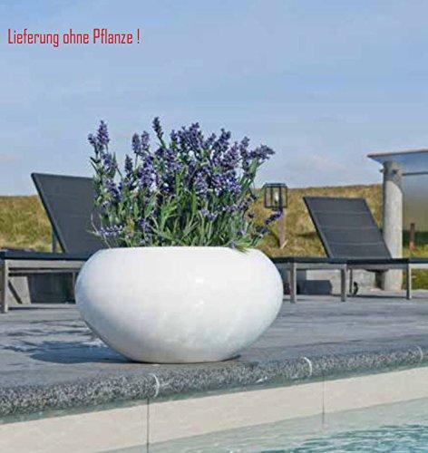 Blumenübertopf Cora aus Resin-Steinmischung, sonnen-und regenbeständig für Innen und Außen, Farbe Weiß glänzend, Ø 47cm Höhe 25,5cm