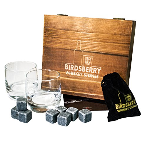 BIRDSBERRY Whiskey Stones & Glasses Set | 8 Chilling Cube Rocks with Bag, Wood Box & Double Glasses | Better Than Ice | Cool Whisky Scotch Bourbon Wine Drinks Without Dilution | For Dads Husbands Men