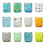AlVABABY Baby Reuseable Washable Pocket Cloth Diapers Nappies/Free Doll for Thanksgiving and Chrismas /12 PCS + 24 Inserts 12ZC3