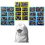 LEZHI IQ Toys, IQ Test Mind Game Toys Brain Teaser Metal Wire Puzzles Magic Trick Toy, Metal IQ Puzzle Set of 24
