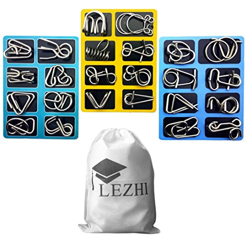LEZHI IQ Toys, IQ Test Mind Game Toys Brain Teaser Metal Wire Puzzles Magic Trick Toy, Metal IQ Puzzle (A+B+C)