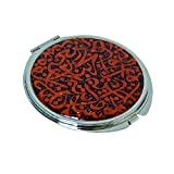 Mother of Pearl Arabian Alphabet Letter Calligraphy Design Red Double Compact Cosmetic Makeup Magnifying Purse Pocket Handbag Mirror