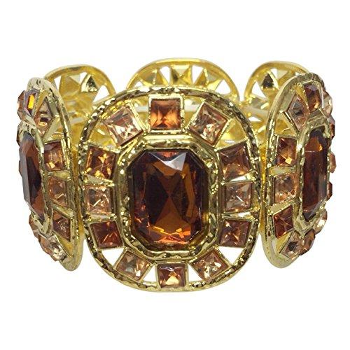 [Bling Gem Cubes on Wide Gold Tone Stretch Statement Bracelet - Multiple Colors (Brown)] (Ladies Ring Leader Costume)