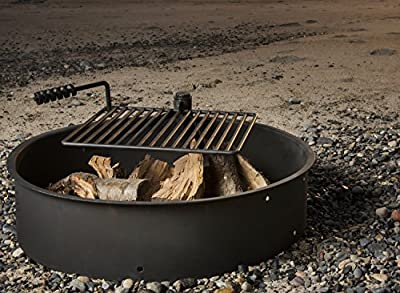 "24"" 32"" 36"" Steel Fire Ring w/ Cooking Grate Campfire Pit Camping Park Grill"