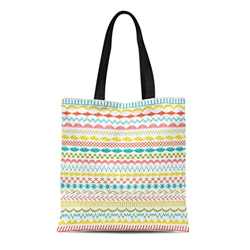 Semtomn Canvas Tote Bag Edge Sewing Stitch Borders Zig Zag Hand Scallop Drawn Durable Reusable Shopping Shoulder Grocery Bag ()