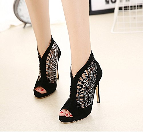 Shoes Fishes spessi Heels Garza Summer 5cm the And Spring Sandali Cool Sheepskin Khskx Quaranta Diamond 8 Hollow Stivali Black Bocca femminile 8qwS1