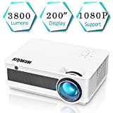 """Projector, WiMiUS P18 3800 Lumens Full HD Movie Projector Support 1080P 200"""" Display"""