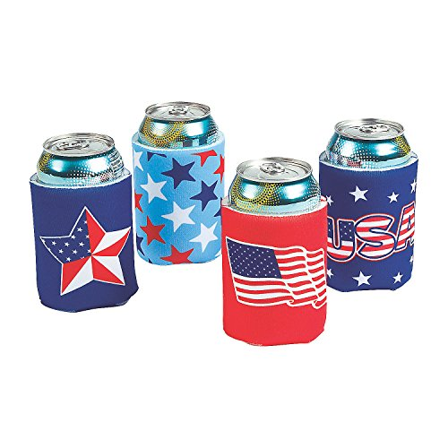 Fun Express - Patriotic Can Covers for Fourth of July - Party Supplies - Drinkware - Can & Bottle Insulators - Fourth of July - 12 Pieces]()