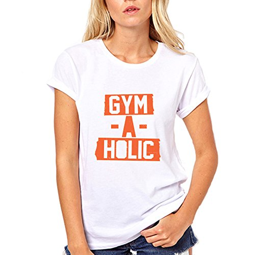 [GullPrint Women's Gym-A-Holic Funny Gym T Shirt Large White] (All White Party Outfit Ideas)