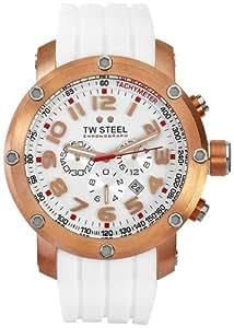 Tw Steel TW133 - Reloj con correa de caucho para hombre, color blanco / gris