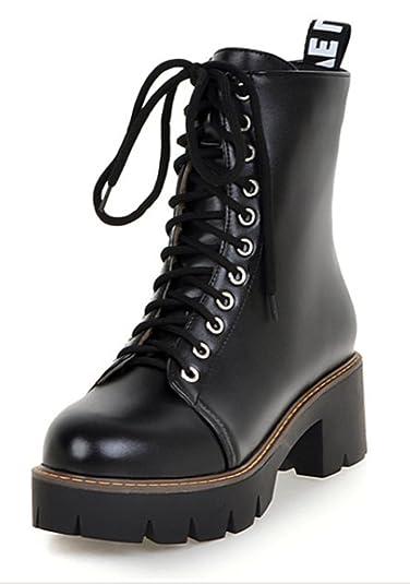SHOWHOW Damen Martin Boots Stiefelette mit Absatz Schwarz 39 EU APqur