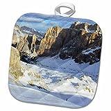 3dRose InspirationzStore Photography - Italian Dolomites Snow mountain landscape photography Italy Snowy Valley Alps mountains ski skiing - 8x8 Potholder (phl_112963_1)